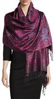 Sabira Paisley Jacquard Weave Silk Shawl, Purple Floral