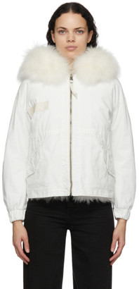 Mr & Mrs Italy White Fur Parka Jacket