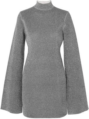 SOLACE London Alula Metallic Stretch-knit Turtleneck Mini Dress