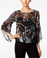 Alfani Petite Printed Angel-Sleeve Blouse, Only at Macy's