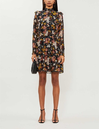 Whistles Floral-print metallic fil-coupe mini dress