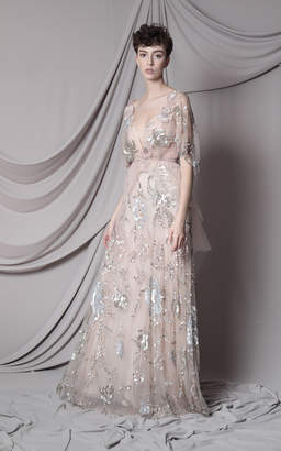 Marco & Maria Crystal Embroidered Belted Dress