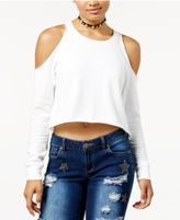 Love, Fire Juniors' Cropped Cold-Shoulder Sweatshirt