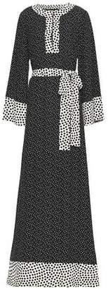 Dolce & Gabbana Belted Polka-dot Silk Maxi Dress