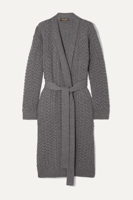 Loro Piana Belted Cable-knit Cashmere Cardigan - Dark gray