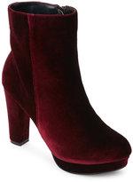 Catherine Malandrino Burgundy Pasha Velvet Platform Ankle Boots