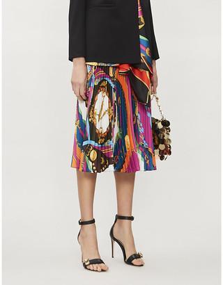Versace Barocco-print high-waist pleated woven skirt