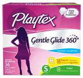 Playtex Gentle Glide Plastic Applicator Unscented Multi-Pack Regular and Super Absorbency Tampons 36-ct.