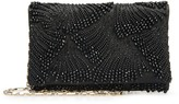 Oscar de la Renta Black Embroidered Satin DeDe Bag