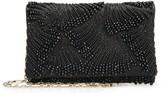 Oscar de la Renta Black Embroidered Satin DeDe Bag