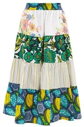 RIANNA + NINA Kendima Volant Upcycled-tablecloth Cotton Skirt - Blue Multi