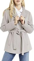 Oasis Short Leah Funnel Coat, Mid Grey