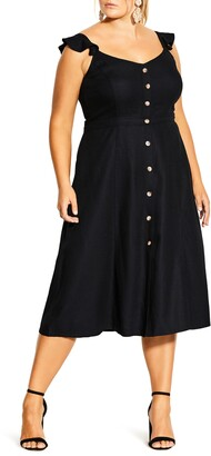City Chic Cheer Linen Blend Midi Dress