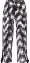 Figue Cova Polka-dot Silk Crepe De Chine Straight-leg Pants - Midnight blue