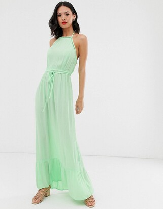 Miss Selfridge maxi dress with lace trim in green