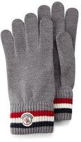 Moncler Logo-Striped Cashmere Knit Gloves, Gray