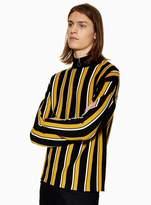 Topman Black and Yellow Stripe Zip Neck Jumper