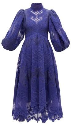 Zimmermann Brightside Embroidered Linen-organza Dress - Womens - Blue