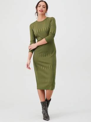 Very Textured Bodycon Midi Dress - Khaki