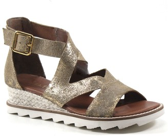 Diba True Leather Metallic Wedges - Qu Aint