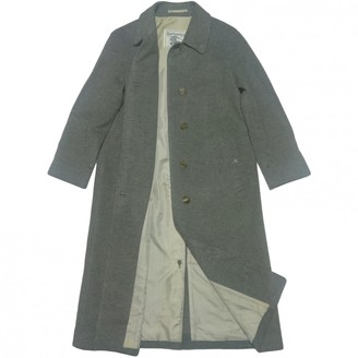 Burberry Grey Wool Trench Coat for Women Vintage