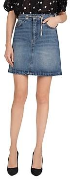 The Kooples Chain-Belted Denim Skirt