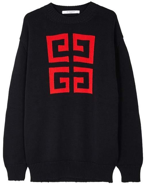 Givenchy Navy 4G Chunky-knit Cotton Jumper