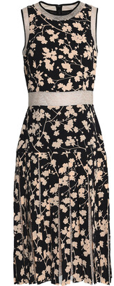 Michael Kors Collection Layered Lace-paneled Floral-print Crepe Dress