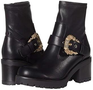 Versace Chunky Heel Engineer Boot (Black) Women's Shoes