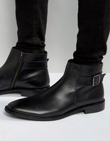 Dune Chelsea Buckle Boots In Black Leather