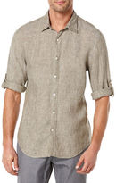 Perry Ellis Short Sleeved Button Front Linen Chambray Shirt