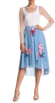 Ted Baker Raspberry Floral Print Ripple Pleated Knee-Length Skirt