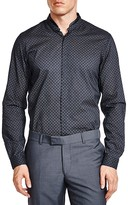 The Kooples Leather Collar Geometric Slim Fit Button-Down Shirt
