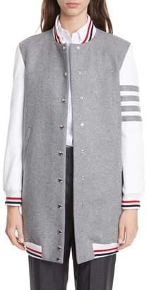 Thom Browne Elongated Wool & Leather Bomber Jacket