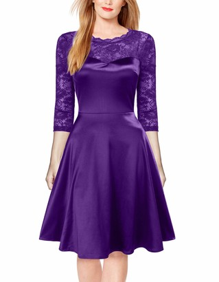 Mmondschein Women's Lace Vintage Cocktail Evening Wedding Party Casual Swing Dress Purple S