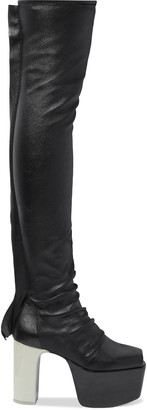 Rick Owens Kiss Stretch-leather Platform Thigh Boots