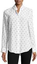 Equipment Insect-Print Essential Long-Sleeve Silk Shirt, White