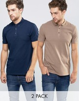 Asos 2 Pack Pique Polo Shirt in Navy/Beige