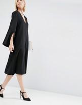 Asos Midi Dress With Square V-Neck