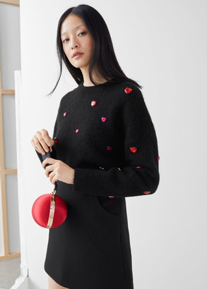 And other stories Heart Gem Embellished Wool Blend Sweater