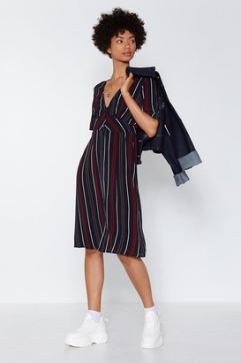 Nasty Gal Womens From the Side Lines Striped Dress - Black - S