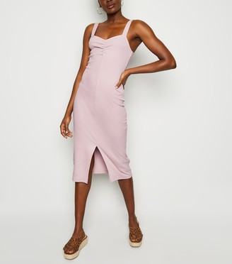 New Look Ribbed Front Split Midi Dress