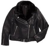 Topshop Women's Vardy Faux Leather Biker Jacket