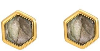 Katie Belle Rosina 18ct Gold Vermeil Hexagon Stud Earrings - Labradorite
