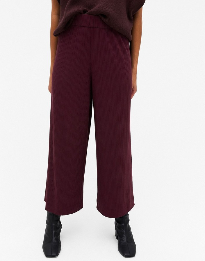 Thumbnail for your product : Monki Cilla ribbed wide leg trousers in burgundy