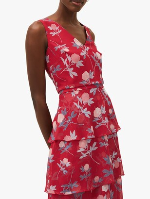 Phase Eight Antonella Floral Print Tiered Midi Dress, Pink