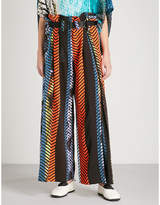 Issey Miyake Contrast-print wide-leg twill trousers