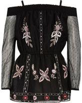 River Island Girls black embroidered mesh bardot top