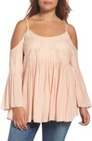 Daniel Rainn Plus Size Women's Cami Pleat Off The Shoulder Top
