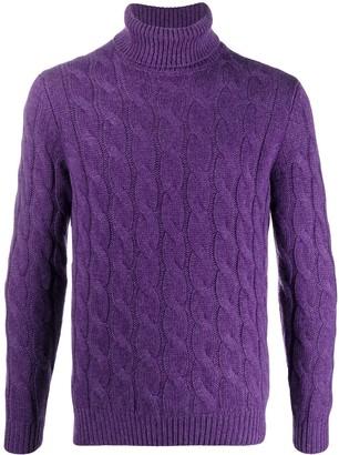 Lardini Roll-Neck Cable Knit Sweater